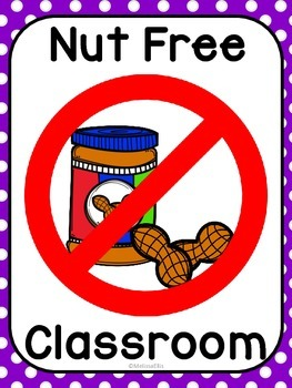 Nut Free Classroom Sign by Every Child Every Day | TpT