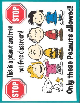 Nut Free Classroom Sign - The Peanuts Gang
