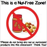 Nut-Free Zone Classroom Sign