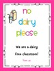 Nut Free and Dairy Free Signs