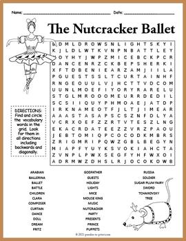 Nutcracker Word Search  - Nutcracker Ballet Puzzle
