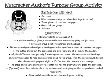 Nutcracker Author's Purpose Group Activity