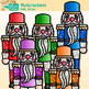 Christmas Nutcracker Clip Art | Rainbow Wooden Soldiers for Digital Scrapbooking