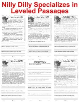 Nutcracker Close Reading 5 LEVEL PASSAGES Main Idea Fluency Check TDQ's & More