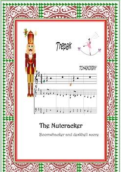 Boomwhackers  and piano score.Color codec.Nutcracker Suite-Trepak.