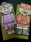 Christmas Nutcracker and Ballerina combo paper bag puppet patterns