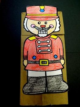 Christmas Nutcracker paper bag puppet pattern
