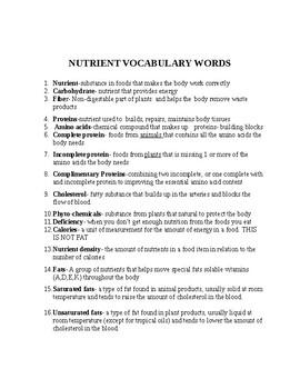 Nutrient Voc Terms