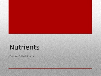 Nutrients Power Point & Student Assignments