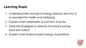 Nutrients and Health - Finding Energy Balance Part 1: Energy Expenditure