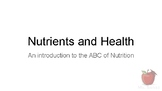 Nutrients and Health - an Introduction to the ABC of Nutri