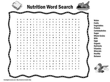 Healthy Eating and Nutrition Activity | Word Search