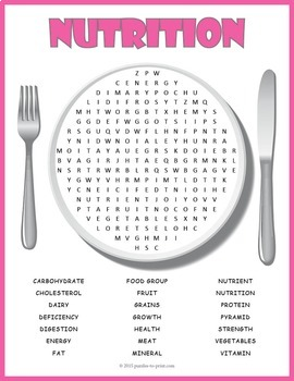 Nutrition Word Search Puzzle