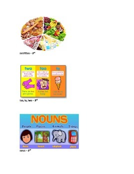 Nutrition 3rd grade vocabulary picture cards