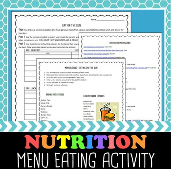 Nutrition Activity- Menu Eating on the Run