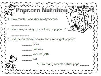 Nutrition Assignment using Popcorn