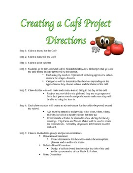Nutrition Cafe Project Directions