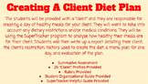Nutrition- Creating A Client Dietary Plan Assessment