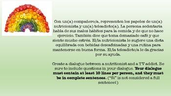 Nutrition Dialogue Spanish - health - la salud - avancemos 6.2