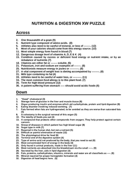 Nutrition - Dieting - Crossword Puzzle - Test your knowledge