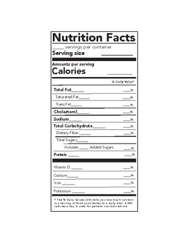 Blank Nutritional Labels Worksheets Teaching Resources Tpt