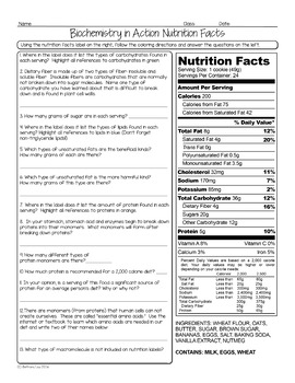 Nutrition Facts Biology Homework Worksheet