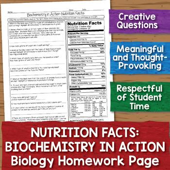 Nutrition Facts Biology Homework Worksheet
