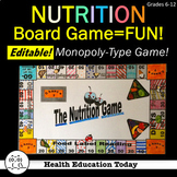 Health Lesson: Nutrition Facts Board Game-Fun, Educational, and Editable!