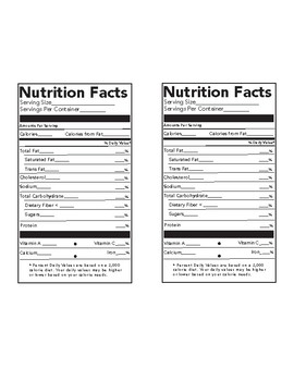 nutrition fact label teaching resources teachers pay teachers