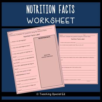 Nutrition Facts Worksheet - FREEBIE