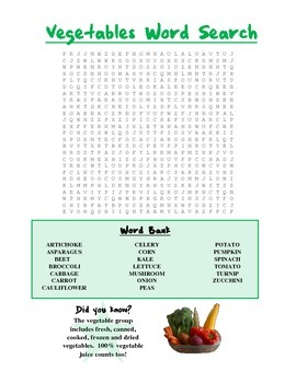 Nutrition: Food Group Word Search Packet (Set of 5)