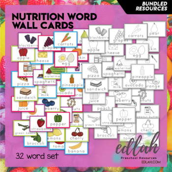 Nutrition/Food Vocabulary Word Wall Cards (set of 32) BUNDLE-Version#1