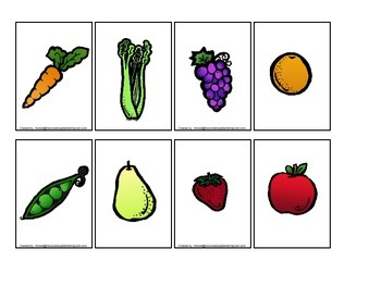 Nutrition Fruit and Veggie Match the Word activity for preschool or daycare.