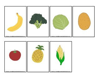 Nutrition Fruit and Veggie Memory Matching activity for preschool or daycare.