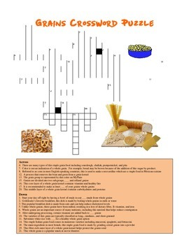 Nutrition: Grains Crossword Puzzle