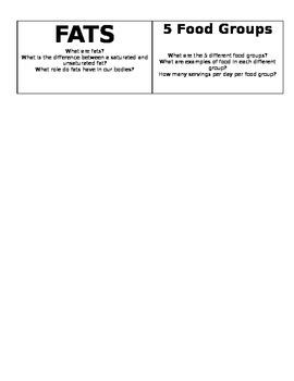 Nutrition Group Vocab Cards