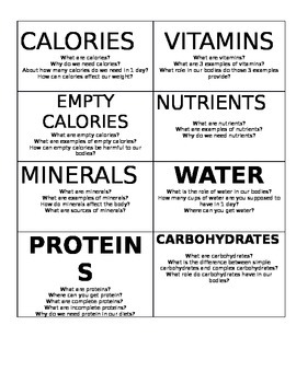 Nutrition Group Vocab Cards