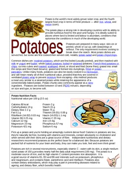 Nutrition Information Cards