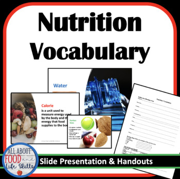 Nutrition Introduction- Vocabulary Terms