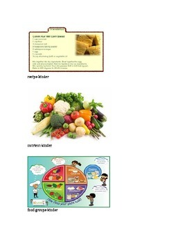 Nutrition Kinder Vocabulary Picture Cards