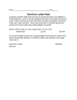 Nutrition Label Meal Plan