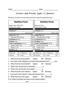 Nutrition Label Practice 3 (Fruit)
