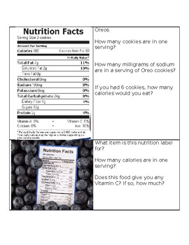 Nutrition Label Task Cards