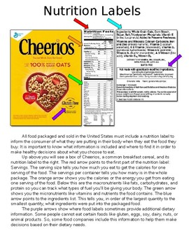 Nutrition Label and Healthy Food Lesson and Activity