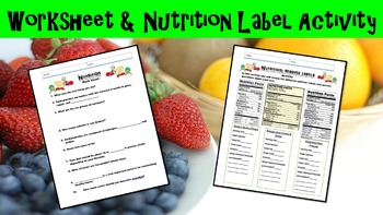 Nutrition No Prep Lesson w/ Power Point, Worksheet, and Nutrition Label Activity