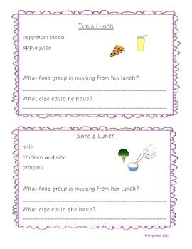 Nutrition Menus- A food group activity