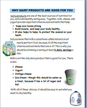 """Nutrition """"Milk -It does a body good!"""" Lesson, activities, jokes,"""