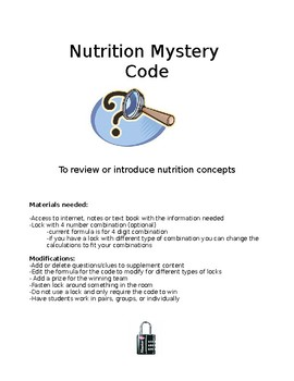 Nutrition Mystery Code