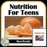 Nutrition Unit Handouts (Major Nutrients), FACS FCS