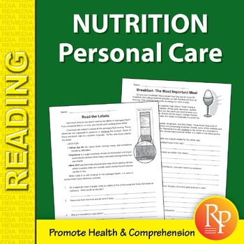 Nutrition: Personal Care Reading Comprehension